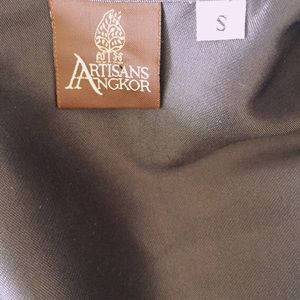 Artisans Angkor Tops - Silk wrap button up sleeveless top metallic grey